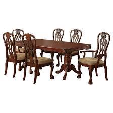 Pedestal Dining Table Sun U0026 Pine 7pc Elegant Carved Double Pedestal Dining Table Set