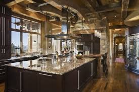 kitchen red rock rustic kitchen features wooden metal top dining