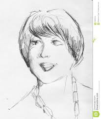 chubby woman pencil sketch stock illustration image 59858138