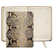 Desk Agenda 2016 Desk Diary Gold Wash Embossed Python Leather Agenda