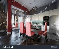 dining room kitchen design urban contemporary modern scandinavian industrial loft stock