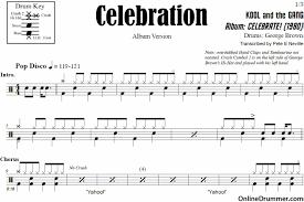 celebration kool and the drum sheet onlinedrummer