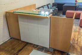 Arnold Reception Desks by Tuohy Geneva 8 5 U0027 X 7 U0027 Natural Maple Reception Desks With Leather