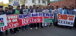Seeking Kl Day97 Scribes Decry Ban On Kashmir Reader Hold Protests