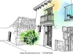 old city street color ink sketch stock vector 729217636 shutterstock