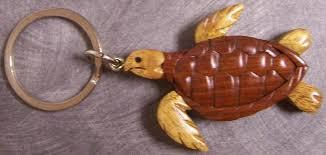 key rings designs images Intarsia solid wood key ring animal sea turtle new ebay JPG