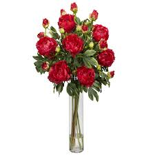 peony arrangement silk 32 peony w cylinder flower arrangement