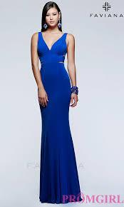 long faviana v neck evening dress promgirl