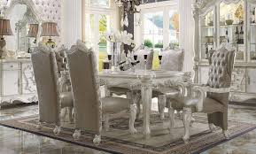 Dining Room 7 Piece Sets Acme 7 Piece Versailles 4 Leg Dining Set In Bone White Finish