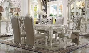 acme 7 piece versailles 4 leg dining set in bone white finish
