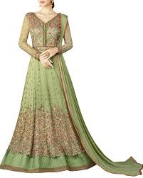 shop valentine special net abaya suit in pista green colour with