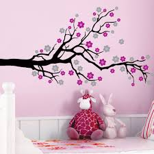 simple tree decal wall mural design decoration with white color on
