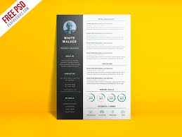Psd Resume Template Simple And Clean Resume Cv Template Free Psd Psdfreebies Com
