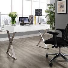 Steel Frame Desk Modway Sector Office Desk With Stainless Steel Frame Multiple