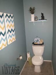 bathroom design inspiration gray wall paint toilet shelving paper holder tissue wooden