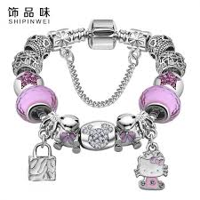 murano bead bracelet images Bracelet with cute cat hello kitty charms fit original bracelet jpeg