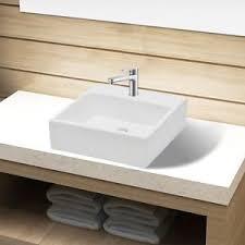 vidaxl bathroom basin sink above counter top ceramic white faucet