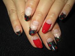 cute nail designs dark blue u0026 red french mix nails