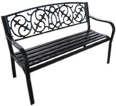 Steel Garden Bench Black Metal Garden Bench Seat Outdoor Seating With Decorative Cast