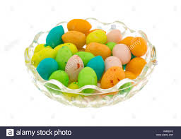 easter egg gum a small glass bowl filled with colorful easter eggs candy