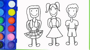 drawing kids best friends and bee coloring pages coloring for kids