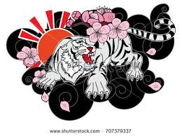 doodle style tiger cherry stock vector 707379337
