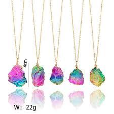 quartz rock necklace images Rainbow stone natural crystal rock necklace gold plated quartz jpg