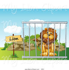clipart of a smiling cartoon male lion sitting behind metal bars