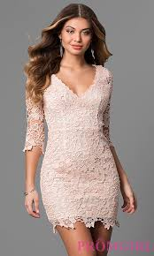 graduation dresses v neck lace dress with 3 4 sleeves promgirl