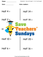 halving ks1 worksheets lesson plans and plenary by