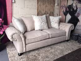 pembroke 3 seater fabric sofa in natural soft blue chesterfield