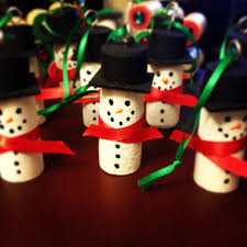 snowman cork ornaments made using wine corks craft paint puffy