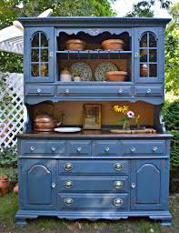 heir and space a vintage maple hutch in blue and cream