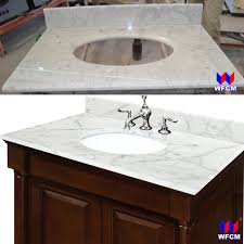 china bianco carrara marble bathroom vanity top attached square