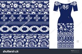blue white ethnic pattern ornaments stock vector