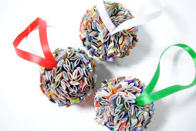 hanging ball ornament made from recycled magazines holiday gift