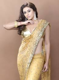 Golden Color Shades Plus Size Sarees Are Also Available Brown Hair Style Goes Well