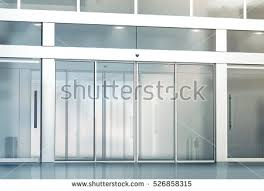 commercial exterior glass doors blank sliding glass doors entrance mockup stock illustration