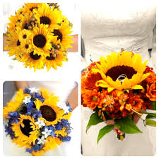 wedding flowers sunflowers sunflower brides bouquets for a wedding flower theme