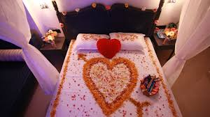 home innovation flowers decoration in room and romantic bed