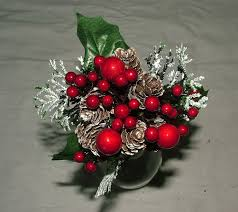 christmas picks 6 x luxury frosted christmas picks berry and pine cones