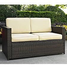 Patio Loveseat Cushion Amazon Com Crosley Furniture Palm Harbor Outdoor Wicker Loveseat