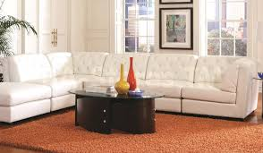 Stacey Leather Sectional Sofa Living Room White With Modern Bonded Leather Modular Sectional
