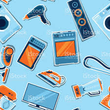 seamless pattern with home appliances household items for sale and