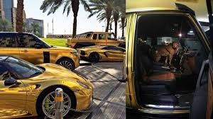 golden ferrari with diamonds arab billionaire with gold supercars and pet cheetah gq india