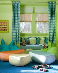 blue green boy s playroom design with lime green walls paint color built in window seat with blue cushion with green piping blue green pillows