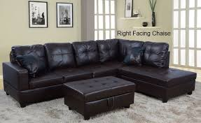 Faux Leather Sectional Sofa Bevly Espresso Faux Leather Sectional Sofa And Storage Ottoman Set