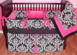 Pink And Brown Damask Crib Bedding Interior Black Carving Black Crib Bedding With Pink Ribbon On