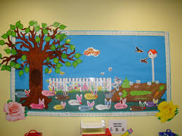 Classroom Soft Board Decoration Ideas Spring Bulletin Board With Bunnies Myclassroomideas Com