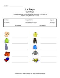 spanish clothing ms hs 1 u2014 instant worksheets